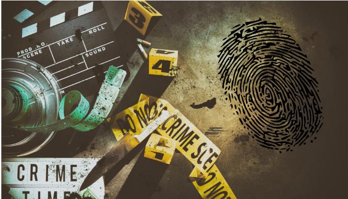 Escena y pruebas de un asesino en un crimen